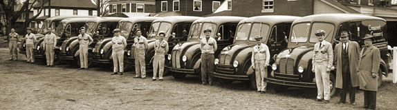 vintage photo of home delivery fleet and staff